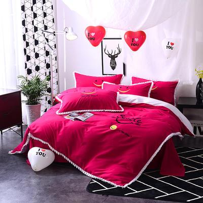 2020新款四件套 绣花四件套 床裙款 被套150*200cm床裙150*200 美好时光—红