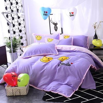 2020新款四件套 绣花四件套 床裙款 被套150*200cm床裙150*200 笑脸—紫