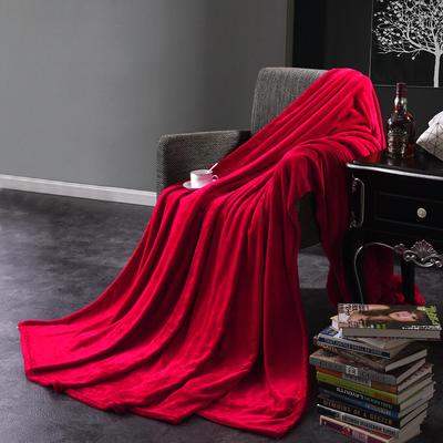2021新款毯子系列 纯色法莱绒毯 1.5*2米 大红