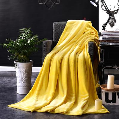 2021新款毯子系列 纯色法莱绒毯 1.5*2米 淡黄色