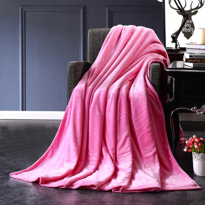 2021新款毯子系列 纯色法莱绒毯 1.5*2米 粉红