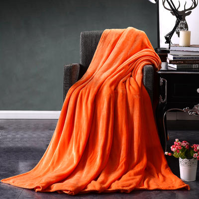 2021新款毯子系列 纯色法莱绒毯 1.5*2米 桔黄