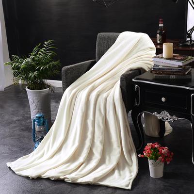 2021新款毯子系列 纯色法莱绒毯 1.5*2米 米白