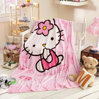 2021新款法莱绒卡通定位毛毯 2*2.3m 粉红KT