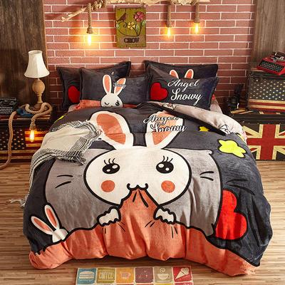 2021新款法莱绒卡通四件套 1.8m标准床单款四件套 米菲兔
