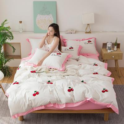 2020新款-全棉毛巾绣四套件 标准四件套 樱桃-粉