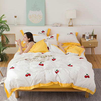 2020新款-全棉毛巾绣四套件 标准四件套 樱桃-柠檬黄