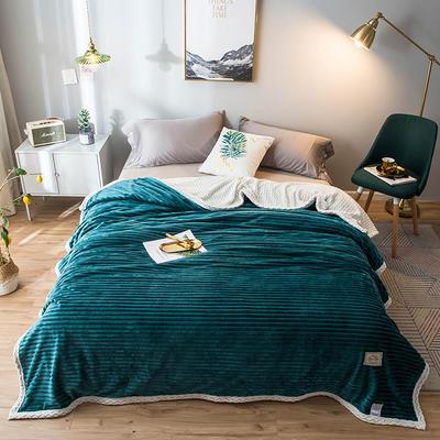 2020新款宝宝绒贝贝绒-双层复合毛毯 150*200cm 孔雀蓝