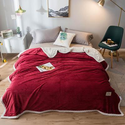 2020新款宝宝绒贝贝绒-双层复合毛毯 150*200cm 温莎红