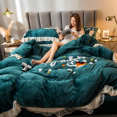 2021新款韩版蕾丝绣花牛奶绒四件套 1.8m床单款 七彩心情-墨绿