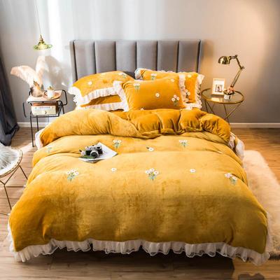 2021新款韩版蕾丝绣花牛奶绒四件套 1.5m床单款 小雏菊-姜黄