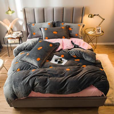 2021新款牛奶绒绣花四件套 1.2m床单款三件套 橘子-灰粉