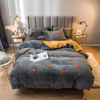 2021新款牛奶绒绣花四件套 1.2m床单款三件套 橘子-灰黄