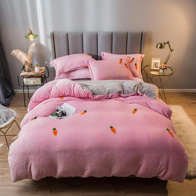 2021新款牛奶绒绣花四件套 1.2m床单款三件套 萝卜-粉