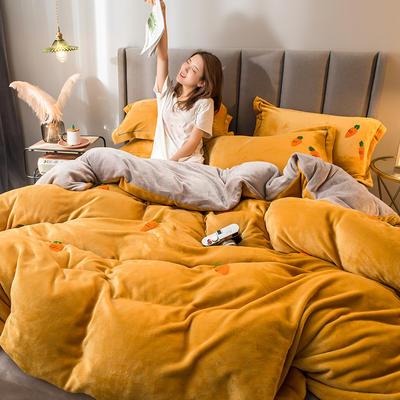 2021新款牛奶绒绣花四件套 1.2m床单款三件套 萝卜-柠檬黄