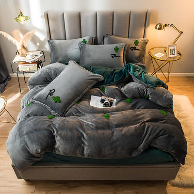 2021新款牛奶绒绣花四件套 1.2m床单款三件套 仙人掌-灰绿