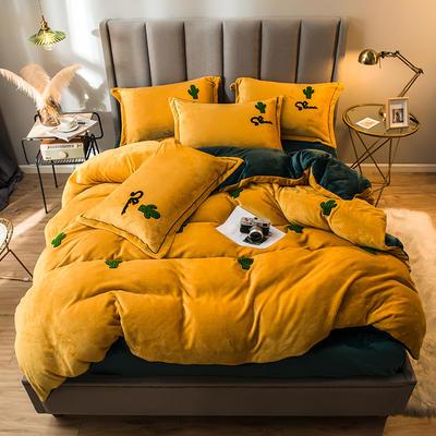 2021新款牛奶绒绣花四件套 1.2m床单款三件套 仙人掌-柠檬黄