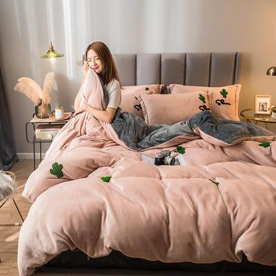 2021新款牛奶绒绣花四件套 1.2m床单款三件套 仙人掌-玉