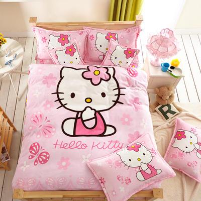2021新款法莱绒卡通四件套 1.2m小号床单款三件套 粉红KT1