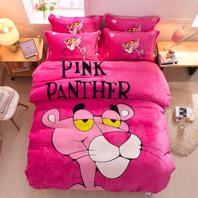 2021新款法莱绒卡通四件套 1.2m小号床单款三件套 粉红豹-玫红