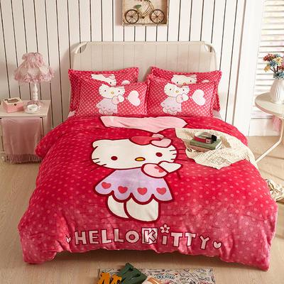 2021新款法莱绒卡通四件套 1.2m小号床单款三件套 玫红KT