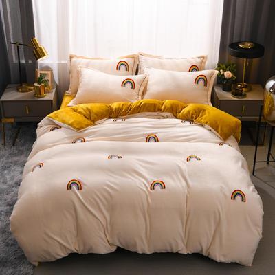 2021新款牛奶绒绣花四件套 1.2m床单款三件套 彩虹心情-白