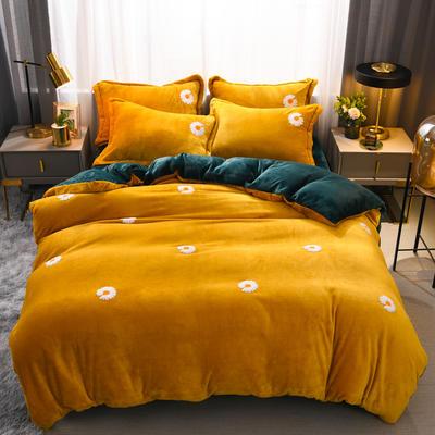 2021新款牛奶绒绣花四件套 1.2m床单款三件套 小雏菊-黄