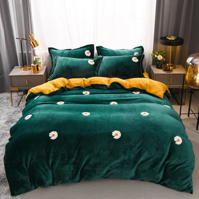 2021新款牛奶绒绣花四件套 1.2m床单款三件套 小雏菊-墨绿