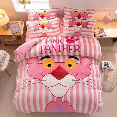 2021新款大版保暖卡通法兰绒四件套 小号1.2米床单款三件套 粉红豹-粉