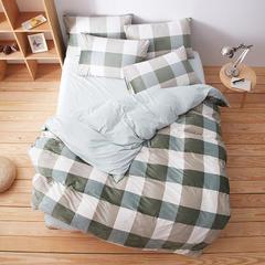 无印良品水晶绒四件套  大格子-绿 1.2m(4英尺)床 1.2