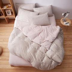 无印良品水晶绒四件套  小格子-驼 1.2m(4英尺)床 1.2