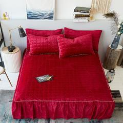 2018新款-水晶绒夹棉绗缝单床裙 1.5米床裙 红色