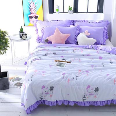 2019跑量款AB版简约水洗棉夏被  夏凉被 空调被 夏被 水洗棉夏被四件套 1.5米×2.0米 紫色之恋