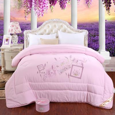 冬被 2020高档印花羽丝棉冬被 被芯  被子 1.5m*2.0m/6斤 紫恋-粉
