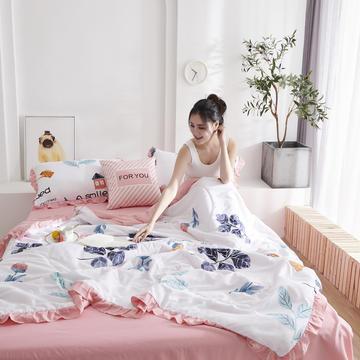 2020新款韩版花边空调被 水洗棉夏被 夏凉被 夏被四件套