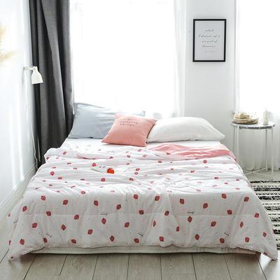 2019新款-北欧水洗洛卡棉印花夏凉被 150x200cm 草莓