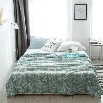2019新款-北欧水洗洛卡棉印花夏凉被 150x200cm 霓裳羽叶-绿