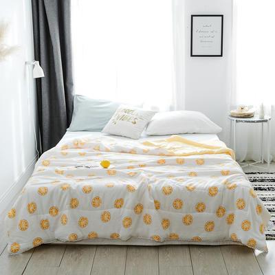 2019新款-北欧水洗洛卡棉印花夏凉被 150x200cm 柠檬来了