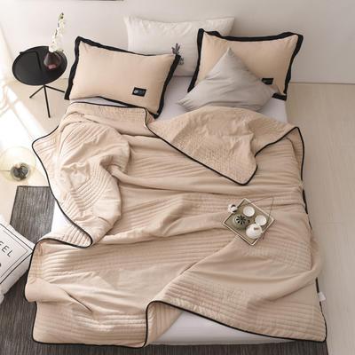 2019新款-【INS密条】北欧水洗棉夏被 150x200cm 密条-米驼