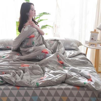 2019新款-可水洗棉印花【套件款】夏被 150*200cm 夏凉被 爱上火烈鸟