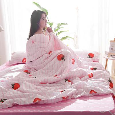 2019新款-可水洗棉印花【套件款】夏被 150*200cm 夏凉被 水果草莓