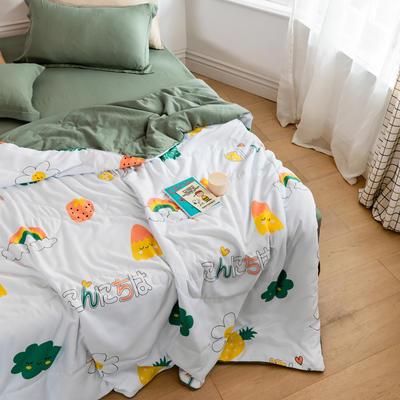 2020新款水洗棉印花夏凉被夏被空调被学生宿舍被名宿被 150*200cm 彩虹世界