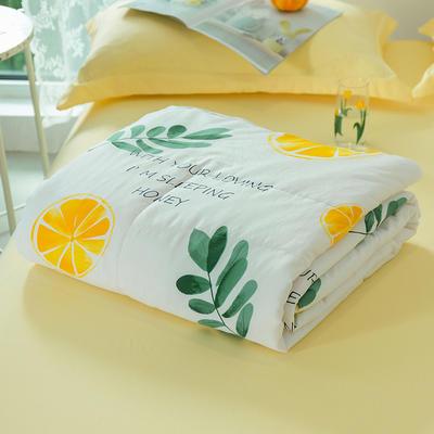 2020新款水洗棉印花夏凉被夏被空调被学生宿舍被名宿被 150*200cm 橘子来了