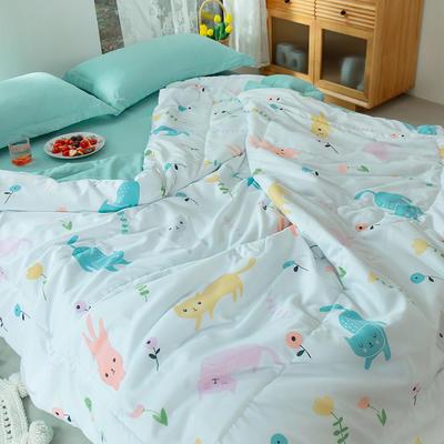 2020新款水洗棉印花夏凉被夏被空调被学生宿舍被名宿被 150*200cm 幸福猫