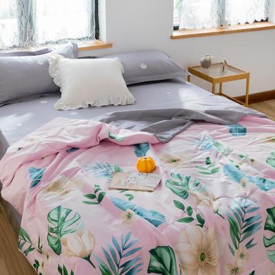 2020新款全棉喷气印花夏凉被夏被空调被学生宿舍被名宿被 150*200cm 花枝曼妙粉