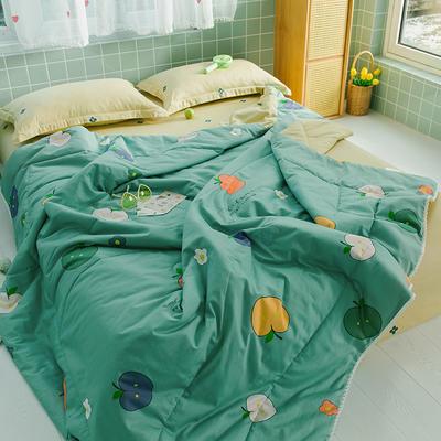 2020新款全棉喷气印花夏凉被夏被空调被学生宿舍被名宿被 150*200cm 小苹果绿