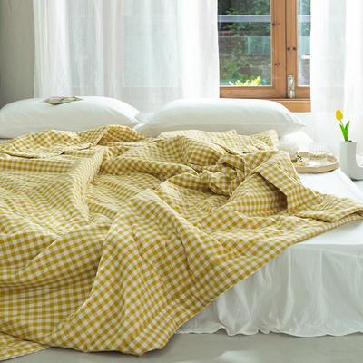 2020新款全棉色織棉花被(里外全棉)夏涼被空調被學生名宿被 150x200cm 小格-黃