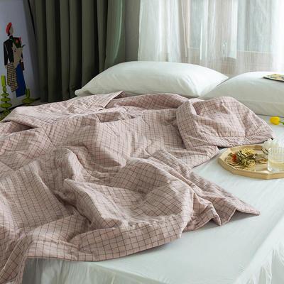 2020新款全棉色織棉花被(里外全棉)夏涼被空調被學生名宿被 150x200cm 小資生活-豆沙