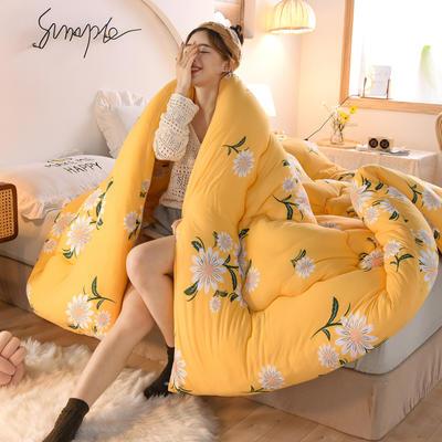 2020秋冬新品保暖针织棉印花冬被被子被芯 150*200cm重4斤 花开-黄
