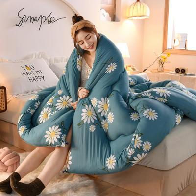 2020秋冬新品保暖针织棉印花冬被被子被芯 150*200cm重4斤 花开-蓝
